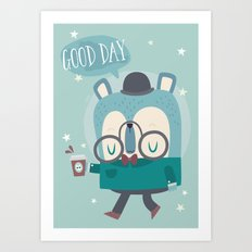 Snazzy Bear Says Good Day Art Print