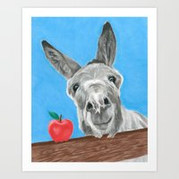 The Donkey and the Apple - Pastel Portrait Art Print