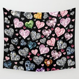 Heart Diamonds are Forever Love Black Wall Tapestry