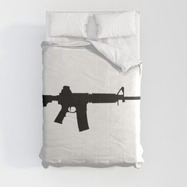 AR15 in black silhouette on white Comforters