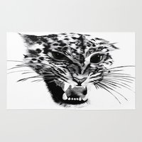 snow leopard Area & Throw Rugs featuring Snow Leopard by pbnevins