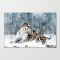 tigers Canvas Prints featuring Tigers by Julie Hoddinott