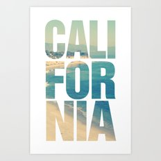 California Vintage Beach Summer Typography Art Print