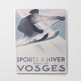 Vosges, France Vintage Ski Travel Poster Metal Print