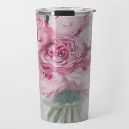 """""""Popping Peonies"""" Gouache Floral Painting Travel Mug"""