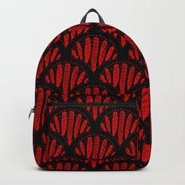 Beautiful Red Black Scalloped Pattern Backpack