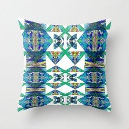 Diamond Geometric Intricate Beauty Green & Blue Throw Pillow