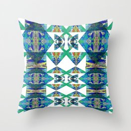 Diamond Geometric Intricate Beauty Green & Blue Throw Pillow