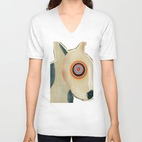 bull terrier V-neck T-shirts featuring bull terrier days by bri.buckley