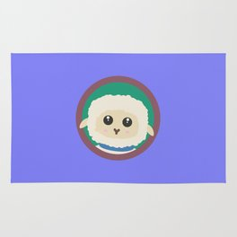 Cute Sheep with purple Circle Rug