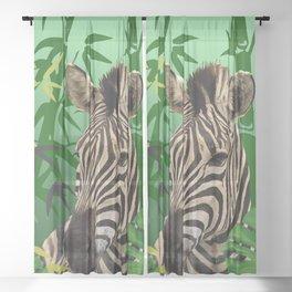 Zebra jungle bamboo background Sheer Curtain