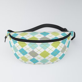 Retro 1980s Argyle Geometric Pattern in Modern Bright Colors Blue Green and Gray Fanny Pack