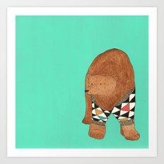 A bear in a sweater Art Print