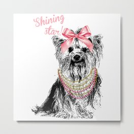 Shinning Star Cute Puppy Design For Dogs Lovers Metal Print