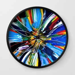 Dutch Spin - Colorful abstract painting flower Wall Clock