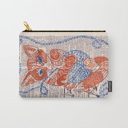 Mr. Fox  (Orange tabby cat with a blue ball of yarn on dictionary page) Carry-All Pouch