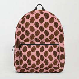 Doodle Coffee Bean Pattern on a Pink Background Backpack