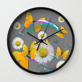 YELLOW BUTTERFLIES  DAISIES & SOAP BUBBLES GREY COLOR Wall Clock