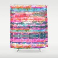 stripe Shower Curtains featuring Kiana Stripe by Schatzi Brown