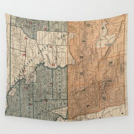 Vintage Map of North and South Dakota (1886) Wall Tapestry