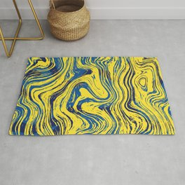 Marbled Yellow and Blue Rug