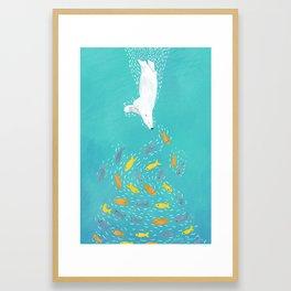 Polar Bear Diving Framed Art Print