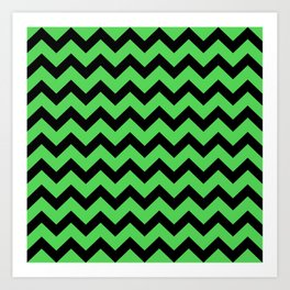 Chevron (Black & Green Pattern) Art Print