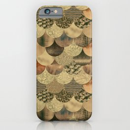 Brown Copper Glamour Mermaid Scale Pattern iPhone Case