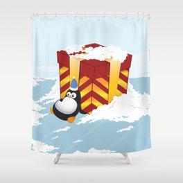 Greedy penguin Shower Curtain