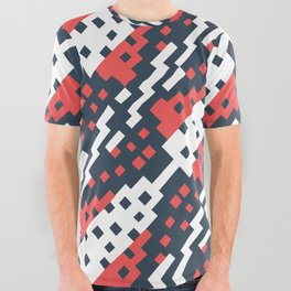 Chocktaw Geometric Square Cutout Pattern - Candy Cane USA All Over Graphic Tee