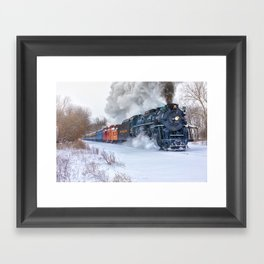 North Pole Express Train (Steam engine Pere Marquette 1225) Framed Art Print