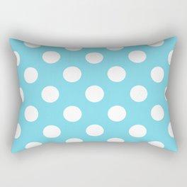 Sky blue (Crayola) - heavenly - White Polka Dots - Pois Pattern Rectangular Pillow