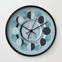 moon phases Wall Clocks featuring Moon Phases by TypicalArtGuy