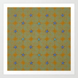 Blue starfish on a green beach Art Print