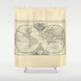 Antique Map from 1691, Sanson Shower Curtain