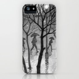 Bus stop in the rain iPhone Case
