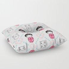 Kokeshi & Lucky Cat Floor Pillow