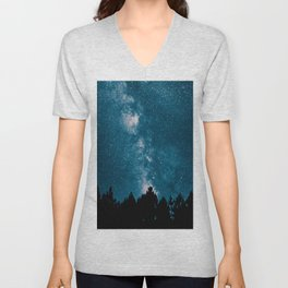 Blue Milky Way At Night Pine Tree Silhouette Stars Night Time Unisex V-Neck