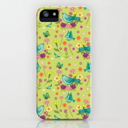Blue Birds on Chartreuse iPhone Case