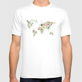 Cartoon animal world map for children and kids, Animals from all over the world on white background T-shirt