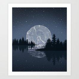 Moon Rise over the Lake Art Print