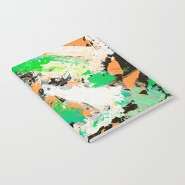 Tropical vibes black salmon white green neon abstract acrylic paint Notebook