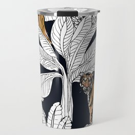 Tigers Black and White Leaves Travel Mug