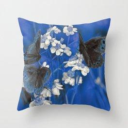 Butterflies in Blue Throw Pillow