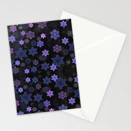 Christmas Snowflakes at Night Stationery Cards