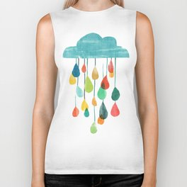 cloudy with a chance of rainbow Biker Tank