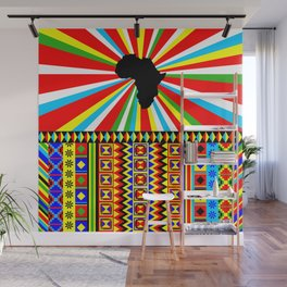 Kente Cloth Pattern with Africa Continent Sun Wall Mural