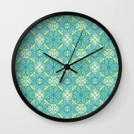 Green Lisbon Tile Geometric Print Wall Clock