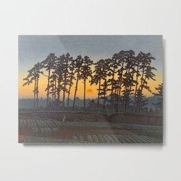 Japanese Woodblock Print Morning Sunrise Farm Tree Silhouette Metal Print