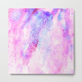 Modern hand painted pink lilac watercolor mandala pattern Metal Print